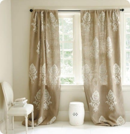 Burlap Crewel Damask Panel