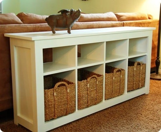 Diy Furniture White Storage Sofa Table This Ikea Knock Off Is The Most