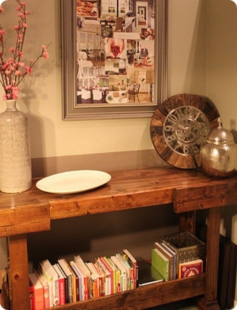 Wooden Workbench Console Table