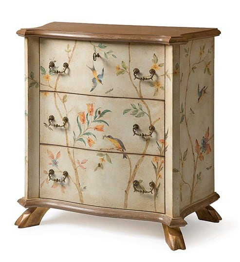 Painted bird dresser for Hand painted furniture