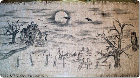 Handpainted Burlap Halloween Table Runner