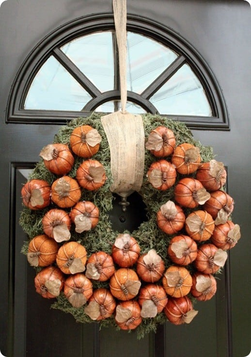 Pumpkin and Moss Fall Wreath