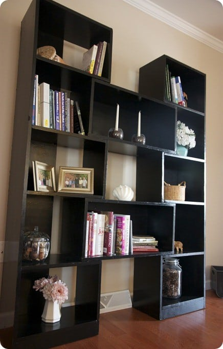 Modern black bookshelf for Diy modern bookshelf