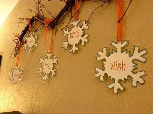 SPARKLY snowflake ornaments
