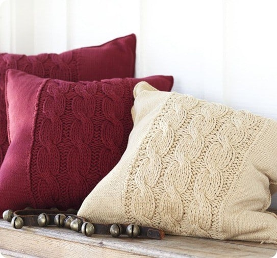 Three Cable-Knit Pillow Covers