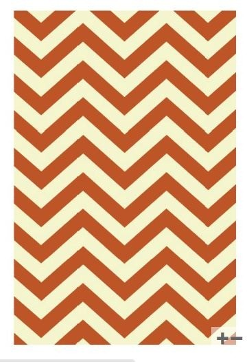 orange herringbone rug