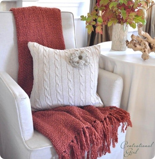 recycled sweater pillow. Black Bedroom Furniture Sets. Home Design Ideas
