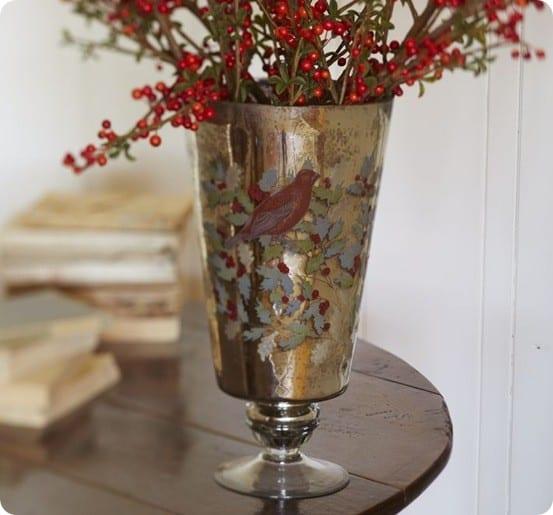 Decoupage Mercury Glass Vase