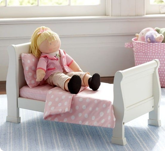 Doll Sleigh Bed and Polka Dot Bedding