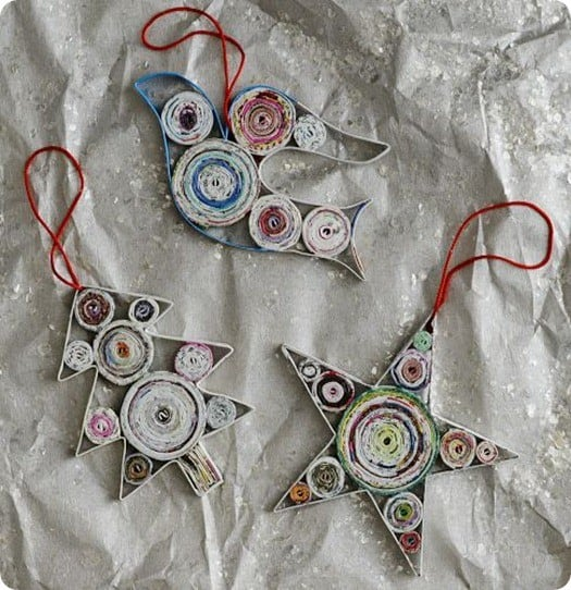 Newsprint Quilled Ornaments