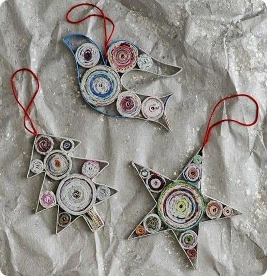 Newsprint Quilled Ornaments