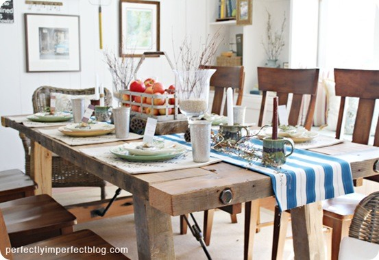 Rustic dining room table set