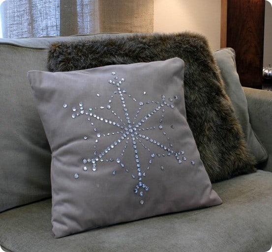 jewel snowflake pillow