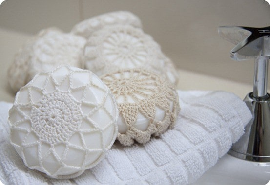 doily wrapped soaps