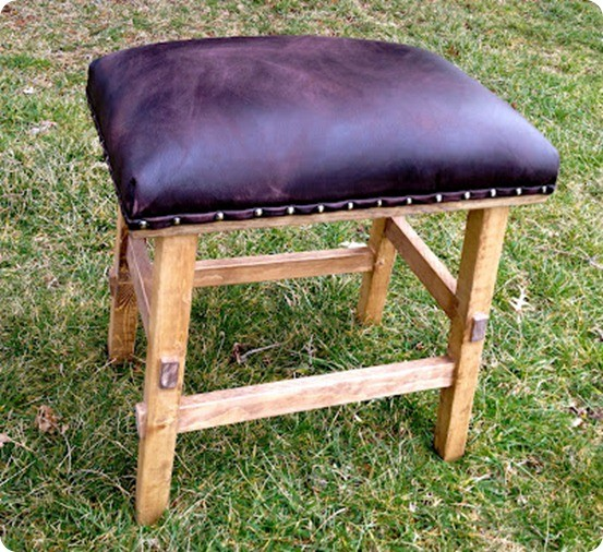 nailhead stool with leather cushion