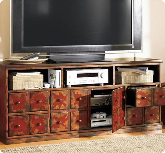 Andover Media Console   Weathered Red Finish