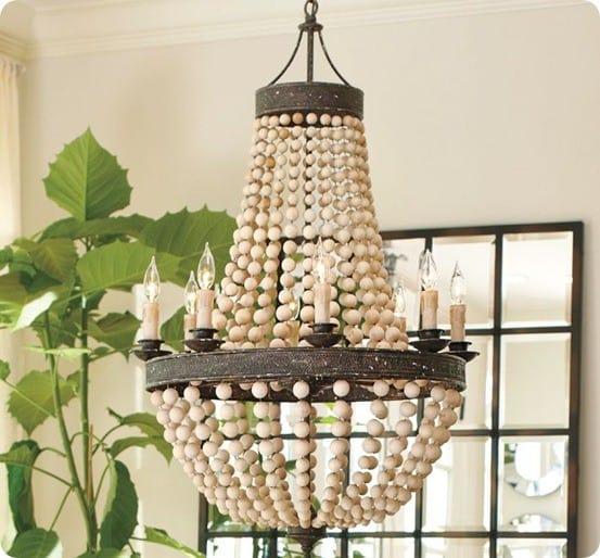 elena wood bead chandelier