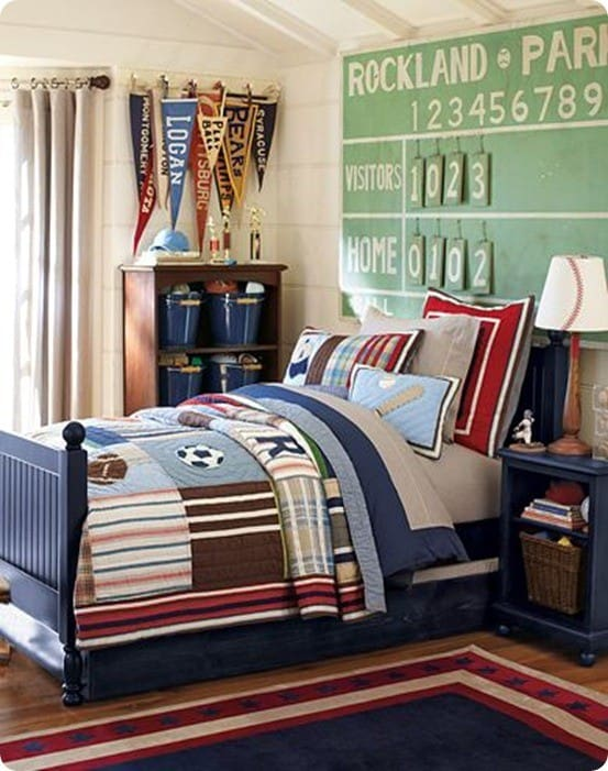 Sports Themed Bedroom Accessories Inspired By The Junior Varsity Sports Bedroom From Pottery Barn Kids