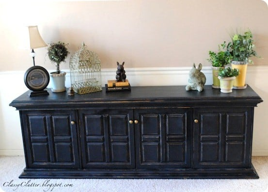 Black Wood Buffets ~ Distressed black buffet