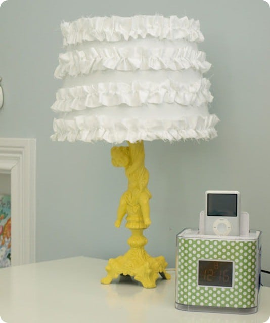 refabbed lamp with ruffle shade