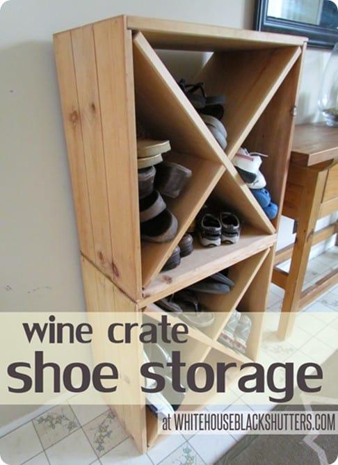 wine crate shoe storage