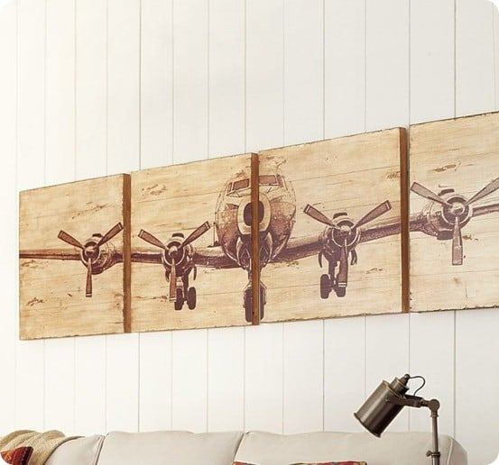 Vintage Aviation Wall Decor : Wooden airplane valance