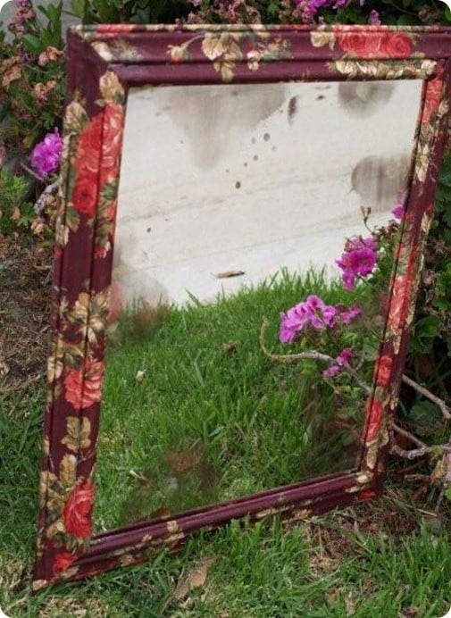 antiqued flower mirror