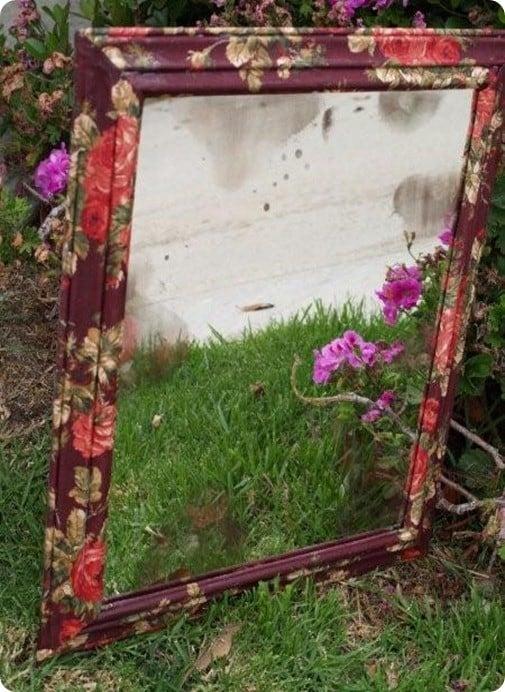 Antiqued Flower Mirror