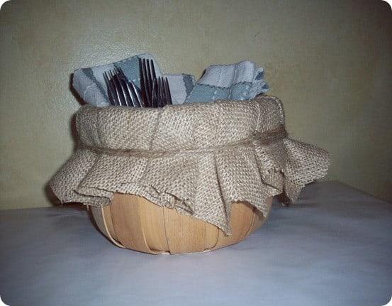 burlap lined basket