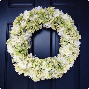 Spring flowers add a pop of color to your front door.