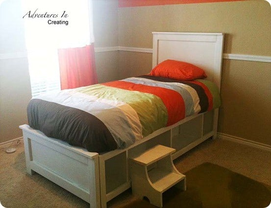 The design was inspired the Hampton Storage Bed from Pottery Barn Teen