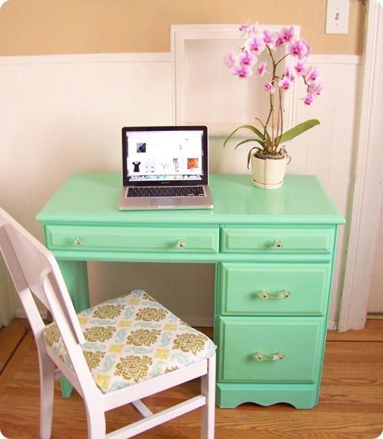 high gloss green desk