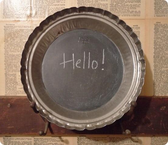 pie pan to chalkboard