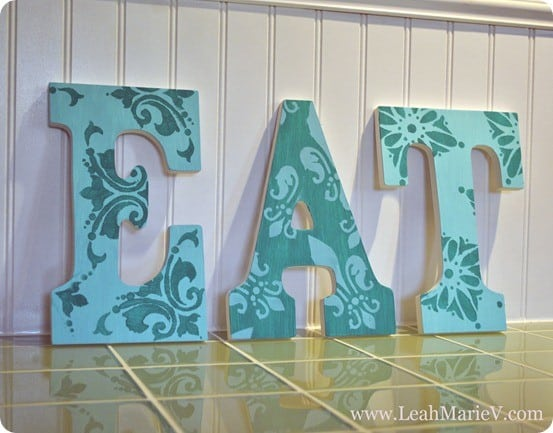 stenciled wall letters