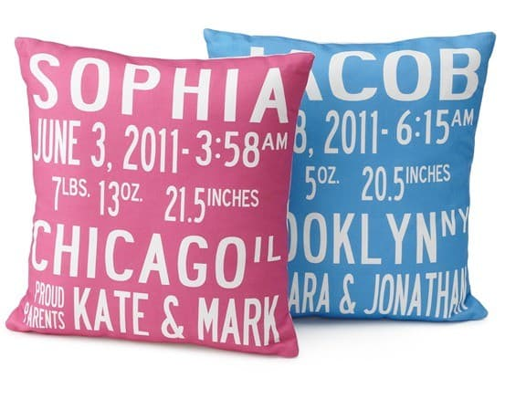 uncommon goods birth announcement pillow