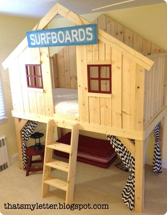 Kids clubhouse bed for Fort bedroom ideas