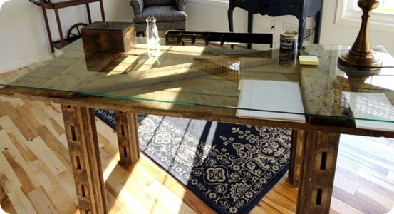 rustic barn door desk
