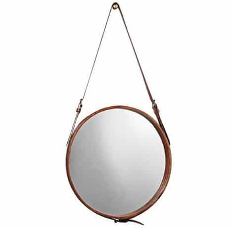 Jamie Young Leather Strap Round Wall Mirror