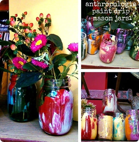 anthropologie paint drip jars