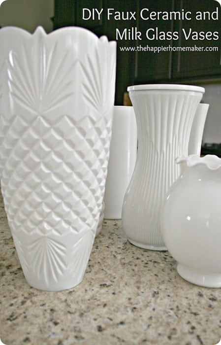 faux ceramic and milk glass vases