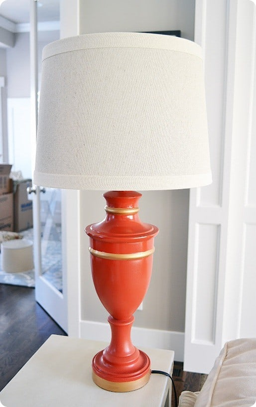 painted coral and gold lamp