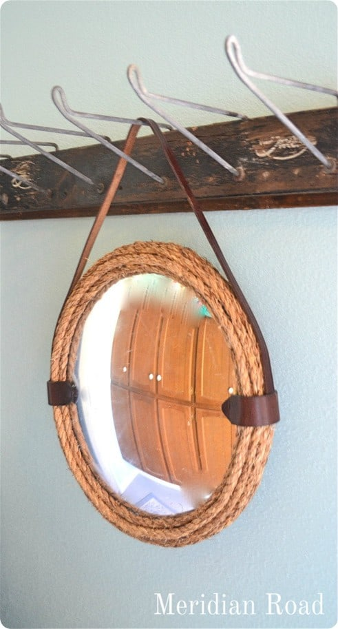 rope and leather mirror
