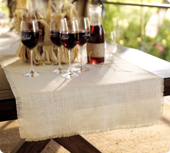 Bleached Fringed Table Runner