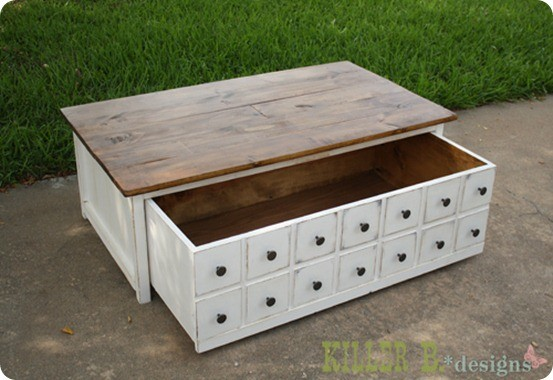 apothecary-coffee-table-open - DIY Coffee Table With Apothecary Style