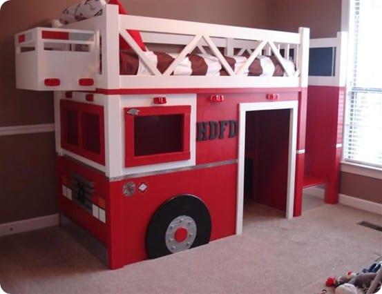 fire truck loft bed for kids