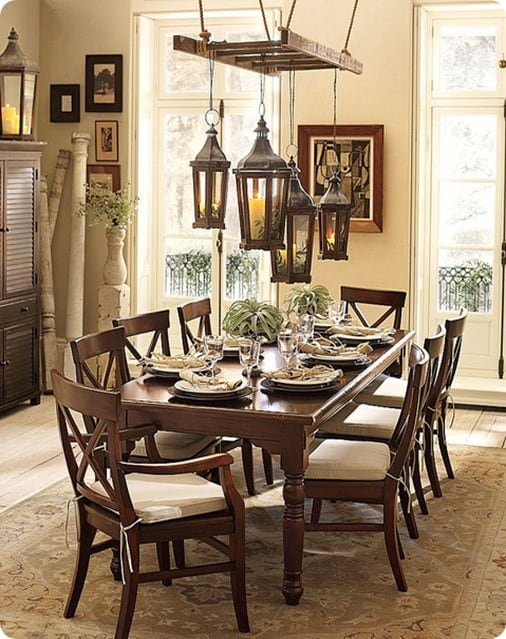 pottery barn ladder with lanterns