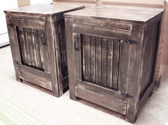 rh inspired planked nightstands