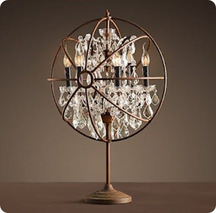 rh iron orb table lamp