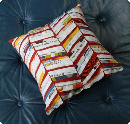 selvage strip chevron pillow