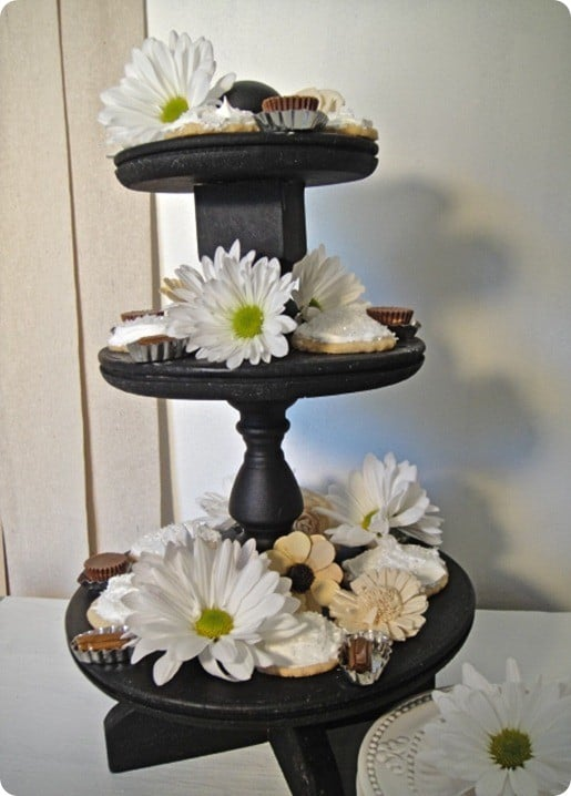 wood three tiered display